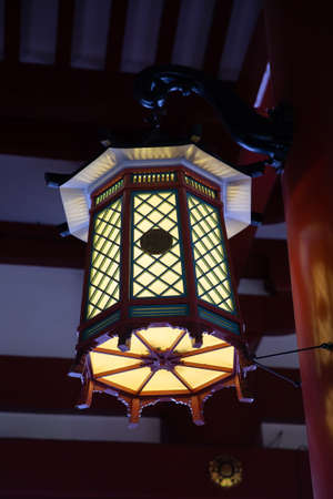 traditional Japan lamp in The temple. Stock Photo