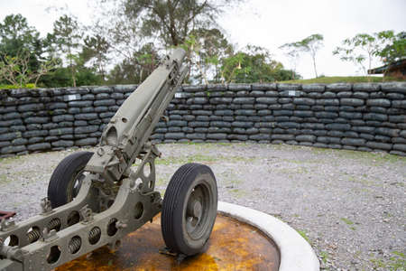Army artillery Mortar cannon gun in the museum. 版權商用圖片