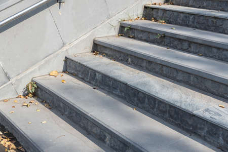 empty grey steps stair at park.