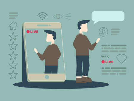 Vector cartoon illustration of man taking selfie and talking via live stream smartphone social network, Social media celebrities stars flat design concept.