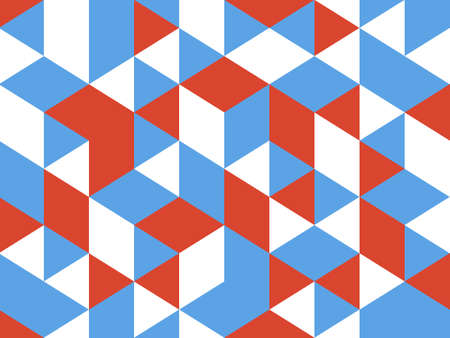 abstract seamless triangle shape geometric pattern background with red, blue and white colored Banque d'images - 140942876