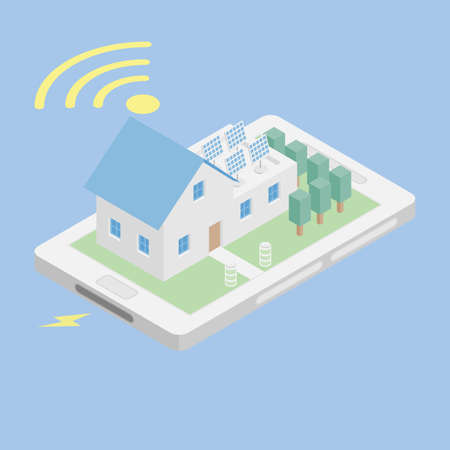 vector illustration of isometric home with solar panel wireless remote control on smart phone, modern alternative sustainability with eco-friendly renewable energy