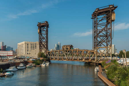 Canal Street Railroad Bridge As Seen From Ping Tom Park In Chicago. Stock Photo