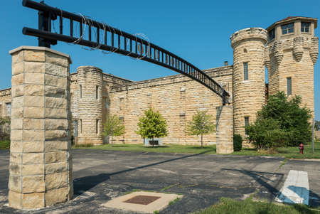 echoes: The Entry Gate To Joliet Penitentiary Located On Route 66 In Illinois. Stock Photo