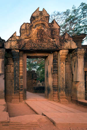 View Of The Gate to Ancient Hindu Temple At Dawn At Prasat Banteay Srei, Near Angkor Wat, Cambodia.