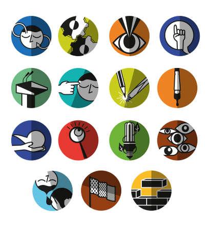 School pictogrammen vaardigheden Stock Illustratie