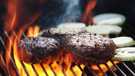 Juicy Burger Patties Flame Grill Summer BBQ.