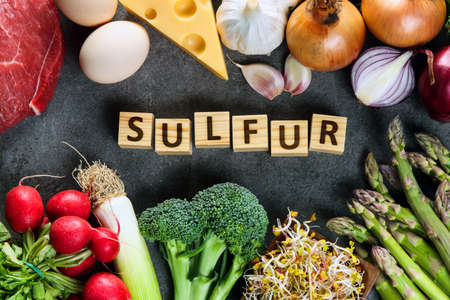 Natural sources of sulfur on grey background
