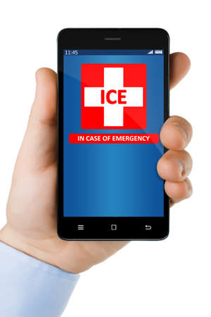 ICE - emergency contact on smartphone screen. All icons drawn by author