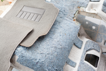 car mat set prepared for wash