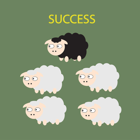 Black sheep different sheep Business concept out of comfort zone to startup business success Vector