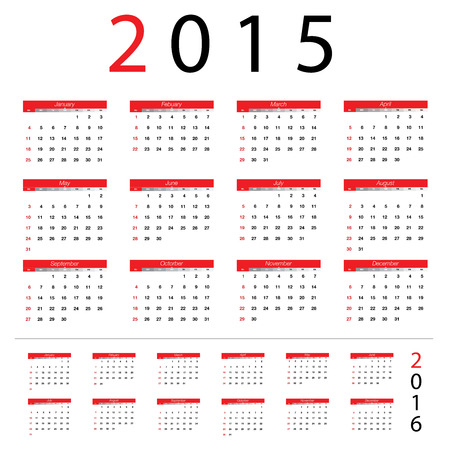 2015 Simple european , 2016 year vector calendars
