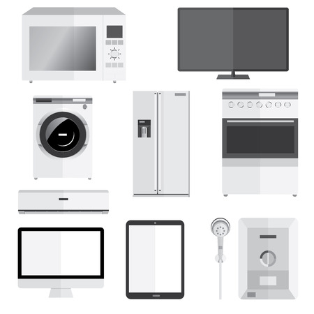 technics: Electronics technics isolated on white vector