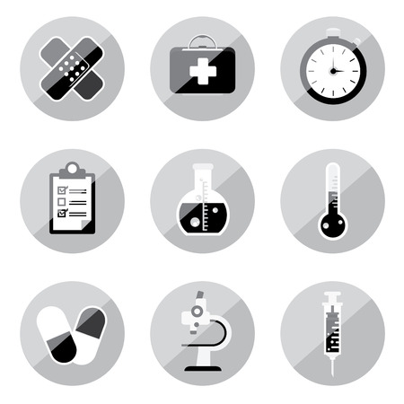 asclepius: black and white medical icon set Illustration
