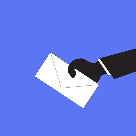 resign: businessman handing in a blank envelope