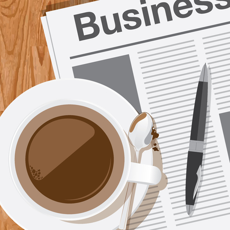 business news: coffee,reading the business news vector