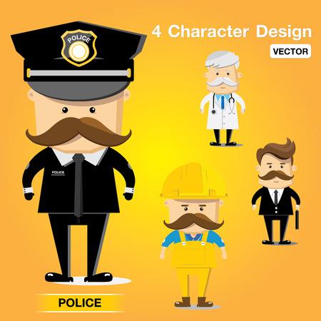 character occupation set design vector