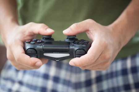 THAILAND -OCTOBER 2: the new sony dualshock 4 controller for PlayStation 4 taken in BANGKOK THAILAND on October 2, 2015.