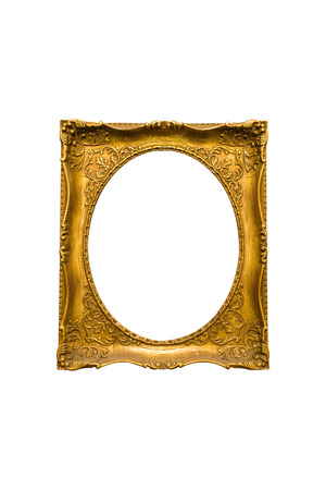gilded: Antique gilded Frame Isolated with Clipping Path