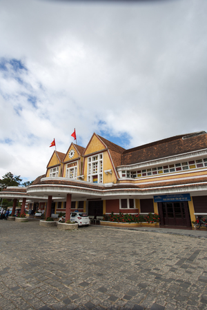 railway history: DALAT, VIETNAM - FEB 29, 2016. Ancient station is famous place, history destination for traveler, with railway, antique train transport tourist to visit in Dalat, Vietnam Editorial