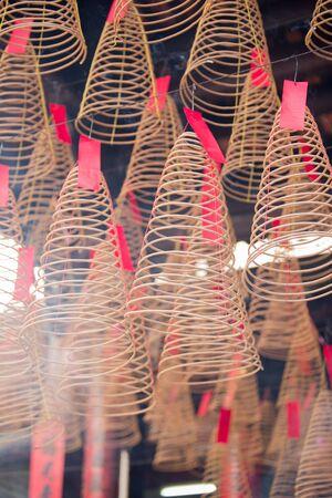 Incense joss ticks at Chua Ba Thien Hau Temple, Saigon, Vietnam 写真素材