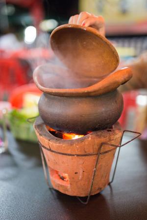 chum: Stew in a clay pot ( CHIM CHUM )  Thai Food at night life