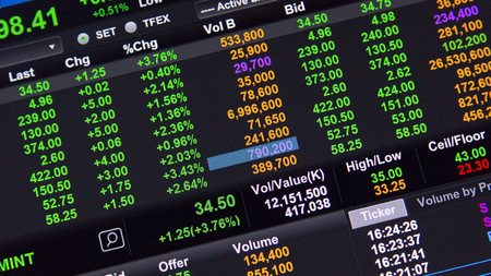 display figure: Stock market data on LED display ,green day Stock Photo