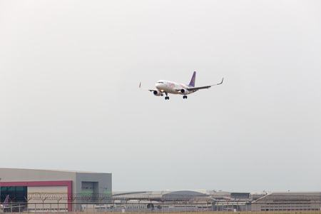 airway: BANGKOK, THAILAND -18 FEB 2016 - Thai airway plane landing to runways at suvarnabhumi international air port on 18 FEB 2016 in Bangkok, Thailand.