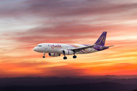 runways: BANGKOK, THAILAND -18 FEB 2016 - Thai airway plane landing to runways at suvarnabhumi international air port on 18 FEB 2016 in Bangkok, Thailand.