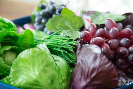detoxification: Composition with assorted raw organic vegetables soft focus Stock Photo