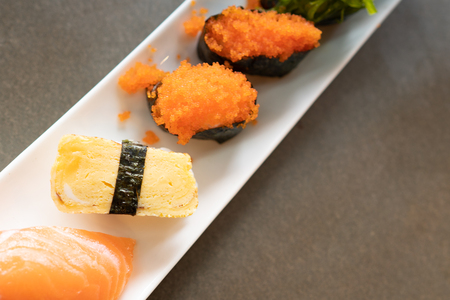 Sushi set on the table Japan food 写真素材