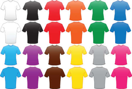 acfe5858c992c4 overhemden sjabloon in veel kleuren Stock Illustratie