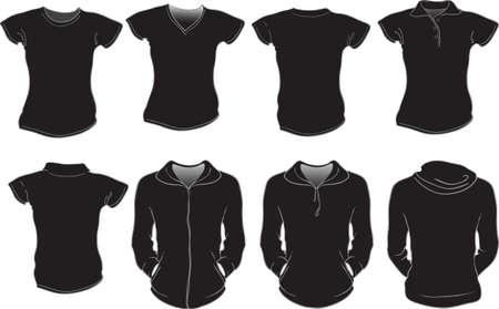 sudadera: conjunto de vectores de negro plantilla camisetas mujer Vectores