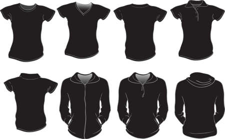 tee shirt template: vector set of black female shirts template