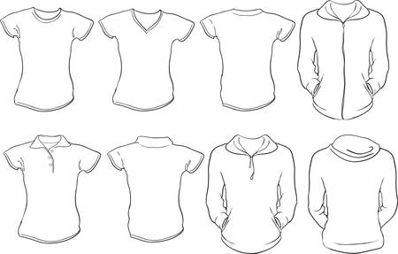tee shirt: a set of female shirts template