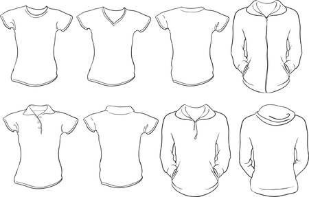 cuello largo: un conjunto de plantilla de camisas hembra