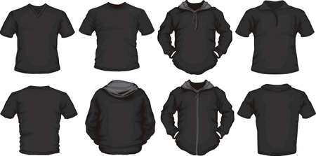 ポロ: 黒い男性のシャツ テンプレート バックとフロント デザインのベクトルを設定