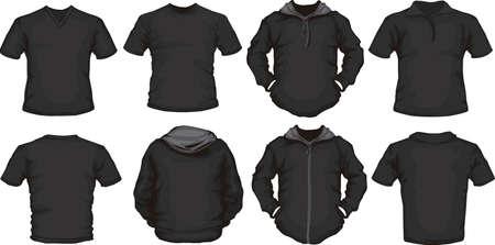 Vektor Reihe von schwarzen männlichen Shirt-Vorlage Vorder-und Rückseite Design
