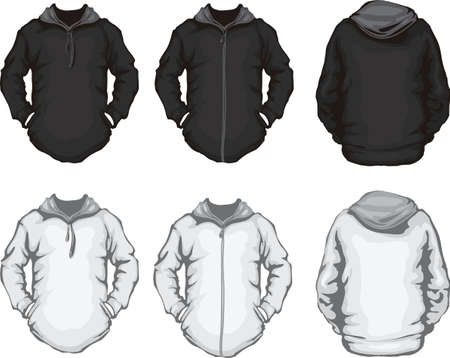 long sleeves: vector illustration of black and white men s hoodie sweatshirt template, front and back design