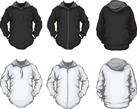 �rmel: Vektor-Illustration der schwarzen und wei�en M�nnern s Hoodiesweatshirt Vorlage, Front-und Back-Design