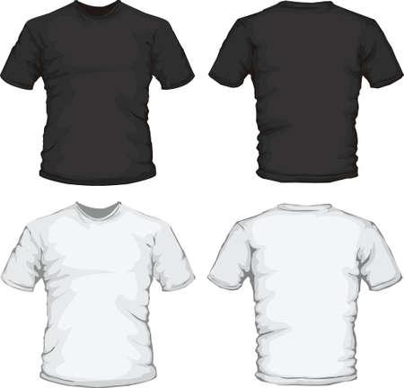 흑인과 백인 남성 셔츠 디자인 서식 파일의 벡터 일러스트 레이 션 일러스트