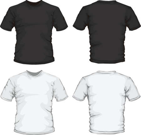 long sleeves: vector illustration of black and white male shirt design template Illustration
