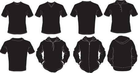 sleeved: Black male shirts template Illustration