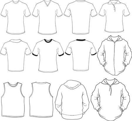 sudadera: un conjunto de plantilla de camisas de hombre Vectores