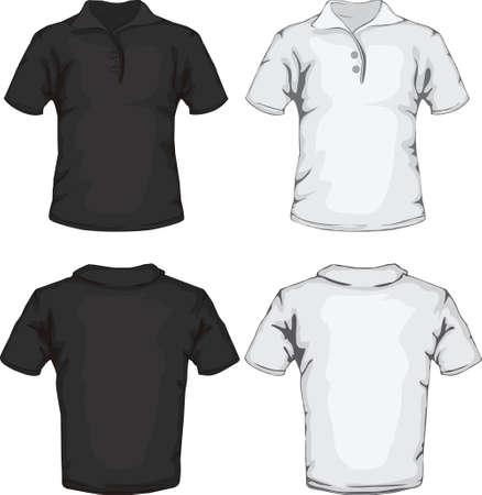 ポロ: ベクトル イラスト白と黒の男性のポロシャツ テンプレートの前面と背面のデザイン  イラスト・ベクター素材