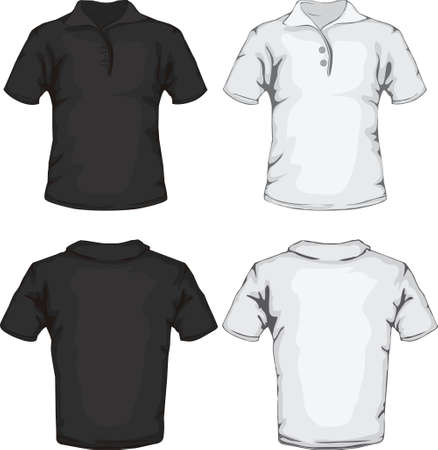 man t shirt: vector illustration of men s polo shirt template in black and white, front and back design