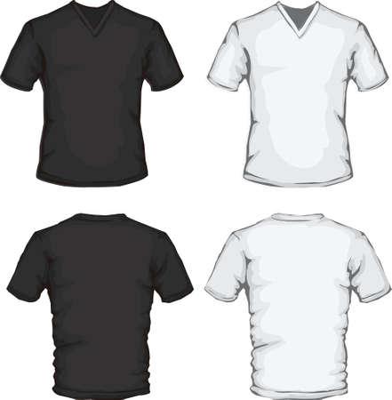 cuello largo: ilustraci�n vectorial de la plantilla de la camisa con cuello en V de dise�o en blanco y negro, delantero y trasero
