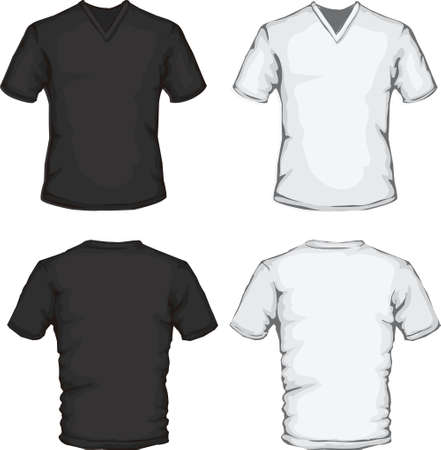 tee shirt: vector illustration of v-neck shirt template in black and white, front and back design