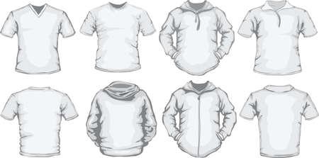 벡터 다시 백인 남자의 셔츠 템플릿 세트와 전면 디자인