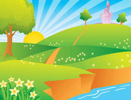 rural scene: Illustration of a green village with castle and bright sun on sky Illustration